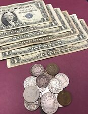 Coin & Currency Collection Penny, Nickels, 90% SILVER Dime & $1 1957 Blue Seal