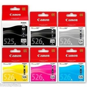 Canon Multi Pk 6 x Original OEM Ink Cartridges PGI-525BK, CLI-526BK, C,M,Y & GY