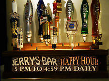 BLACK  HAPPY HOUR 18 BEER TAP HANDLE DISPLAY , PERSONALIZED,  BAR SIGN