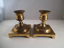 Vintage Pair of Brass Candle Holders Candlestick Made in England