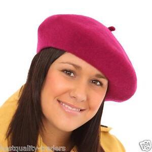 Ladies  Elegant French Beret Hat-Black  Red Raspberry Purple Green Grey