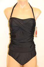 New Tropical Honey Swimsuit Bikini 1 pc Sz 10 Black Removable strap