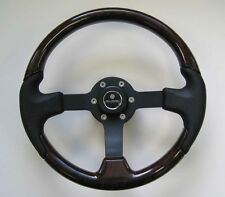 New OEM Gussi Boat Steering Wheel Faux Burl Rim Black Spoke