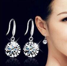 Women's Fashion Jewelry 925 Silver Plated Rhinestone Hook Dangle Earrings 26-2