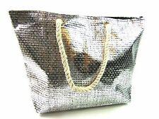 Nuevo de Calidad Ligero Metálico Playa bag Vacaciones Viajes Shopper Bolso Tote