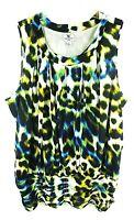 Worthington Women's Blouse Leopard Print 1X Black White I