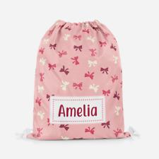 Personalised Girls Bows & Thrills Pink Kids Drawstring Sport Swimming School Bag