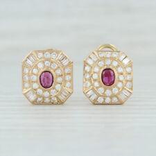 2.30ctw Garnet Diamond Halo Earrings - 14k Yellow Gold Pierced Omega January