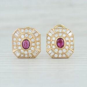 2.30ctw Garnet Diamond Halo Earrings 14k Yellow Gold Pierced Omega January