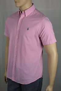 Ralph Lauren Pink Striped Classic Short Sleeve Seersucker Dress Shirt Blue NWT