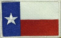 TEXAS STATE FLAG PATCH EMBROIDERED IRON-ON LONE STAR TX White Border #03
