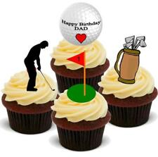 NOVELTY GOLF HAPPY BIRTHDAY DAD MIX 12 STAND UP Edible Cake Toppers Father Daddy