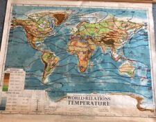 Vintage CLOTH roll up map 1 Layer World Temperature Vintage, Salvage, Antique.