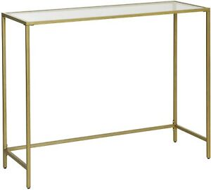 Slim Glass Console Table Modern Accent Sofa Table Hallway Unit Narrow Stand Gold