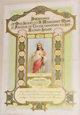 "Irish Holy Picture 1930 Promises of Sacred Heart to Blessed Margaret Mary 18""x12"