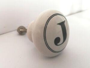 Alphabet Number Letter Cupboard Ceramic Door KNOB Porcelain Drawer Handles J