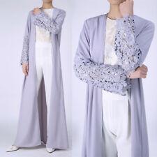 UK Women Open Front Lace Cardigan Abaya Dubai Muslim Full Length Shirt Dresses