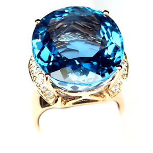 Topaz ฺSwiss Blue Ring Size 6.75 Oval 33.3Ct. 925 Sterling Silver Rose Gold Gift