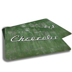 Rustic Green Chevrolet Script Emblem Design Indoor Door Mat Rug TWO RUGS