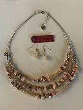 Choker Necklace & Earring Set-Bj67006 Betsey Johnson Pink Unique Bead Gemstone