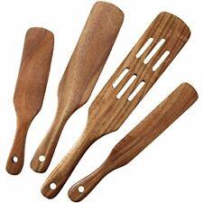 MESSON Spurtle Set, 4Pcs Premium Wood Spurtles Kitchen Tools Wooden Spatula