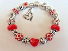 European Style Charm Bracelet with Rhinestones,Faceted Beads, Snap Clasp+Stopper