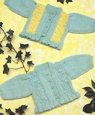 """Baby Cardigans Knitting Pattern pretty frilled hem in Double Knitting 16-22"""" 777"""
