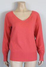 100% Cashmere GAP Bright Neon Coral V-Neck Sweater, Size Small S