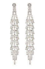 CLIP ON EARRINGS - silver drop earring with clear crystals - Cain S