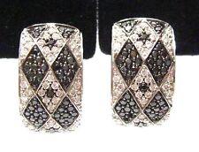 Fine Round Black Diamond Huggie Earrings Clip-On for pierced ears 18k White Gold