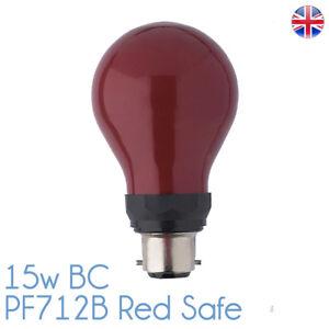PF712B 15w Darkroom Red Safe Safelight 240v B22d BC Bulb Lamp 15w Red Safe