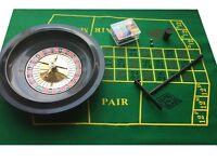 Boxed Roulette +Blackjack set - Chips Rake Felt / Layout - 26cm Wheel