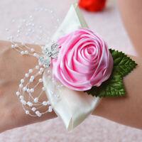 Flower Wrist Corsage Pearl Bead Bracelet Bridesmaid Corsage Flower Wedding IN9Z