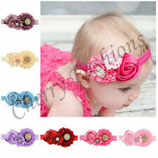 Baby Girls flower stone Soft Head Elastic Band Headband gifts Hair Accessories