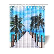 Custom Sandy Tropical Paradise Beach Palm Trees Bath Shower Curtain 60x72 Inch