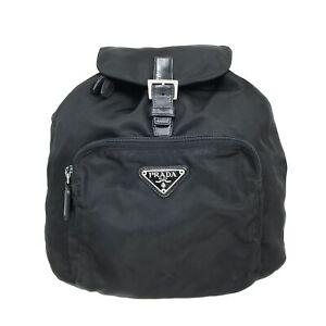 100% Authentic PRADA Nylon Backpack Black [Used] {08-0318}