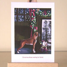 Christmas Boxer dog waiting for Santa vintage style drawing ACEO art card