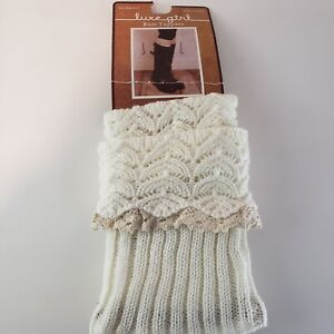 Luxe girl knit boots socks Boot Toppers Cuffs Lace ruffles Cream NWT Stocking