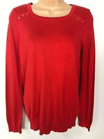 WOMENS DEBENHAMS THE COLLECTION RED KNITTED JUMPER SWEATER PULL OVER SIZE 10