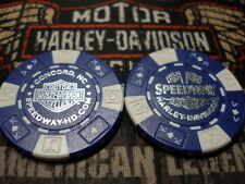 Harley Blue & White Poker Chip Speedway Harley Davidson Concord, NC