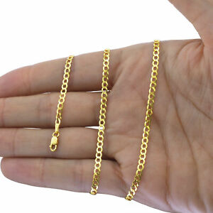 """Solid 14K Yellow Gold 1.5mm-12mm Curb Chain Cuban Link Necklace Bracelet 7""""- 30"""""""