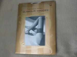 NIP Victoria Secret Glamour Sheers Lace Top Thigh High CLASSIC Stockings Black B