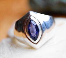 Schlicht Silberring 55 Iolith Handarbeit Silber Ring Blau Lila Facettiert Modern