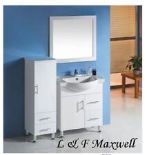 Bathroom semi-recessed and ceramic basin vanity 750