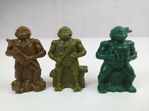 """Vintage 1980's Lot of 3 Teenage Mutant Ninja Turtles TMNT 3"""" Burger King Toys"""