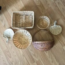 Set Of 6 Boho Wall Hanging & Wicker Basket Lot EUC!