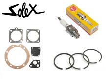 SOLEX 2200 3800 5000 REPAIR SET + SPARK PLUG B4H + PISTON RING GASKET SEAL MOTOR
