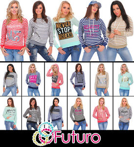 Womens Striped Sweatshirt Hoodie Long Sleeve Blouse Girls Print FWMIX