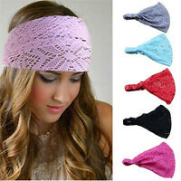 Women's Yoga Head Wrap Soft Wide Hair Band Lace Headband Elastic Wrap gg