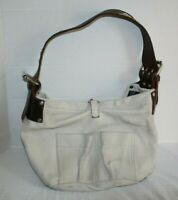 Tylie Malibu Ivory Leather Hobo Handbag Swarovski Crystal Rhinestone Strap Purse